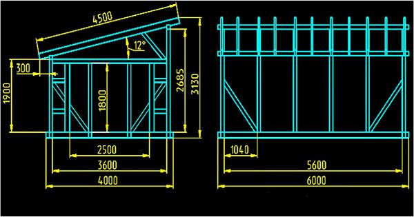 чертеж стропильной системы односкатной крыши