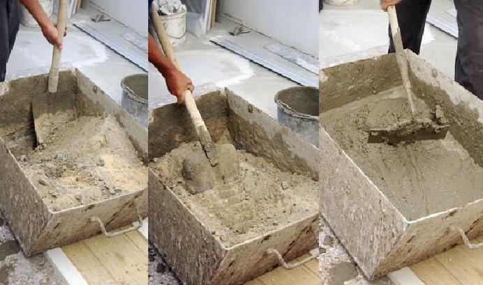 разведение раствора лопатой