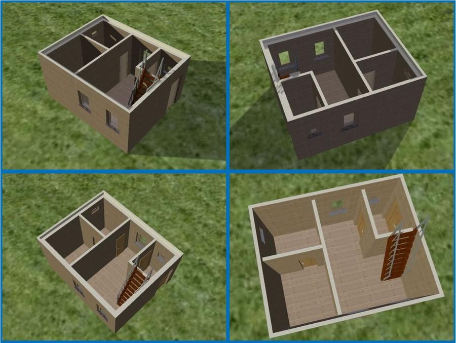 Помещения бани в нескольких 3D-ракурсах